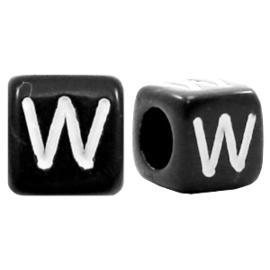 Acryl letterkraal zwart W  (vierkant)