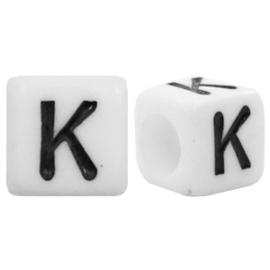 Acryl letterkraal wit K (vierkant)