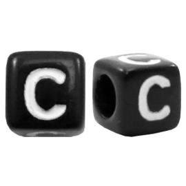 Acryl letterkraal zwart C  (vierkant)