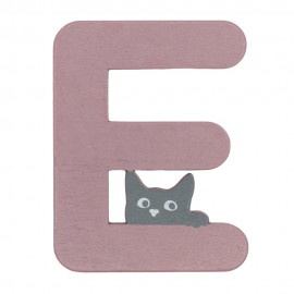 Houten kattenletter roze E
