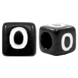 Acryl letterkraal zwart O  (vierkant)