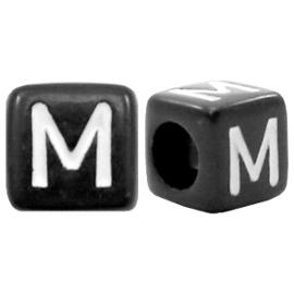 Acryl letterkraal zwart M  (vierkant)