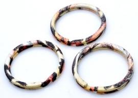 Metalen sleutelhanger ring oranje/bruin
