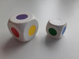 Dobbelsteen 18 mm. wit - 6 kleuren