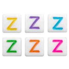 Acryl letterkraal multicolor-wit Z (vierkant)