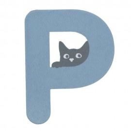 Houten kattenletter blauw P