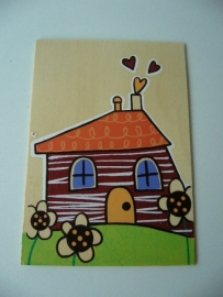 Houten wenskaart huis