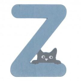 Houten kattenletter blauw Z