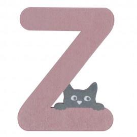 Houten kattenletter roze Z