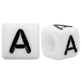 Acryl letterkraal wit A (vierkant)