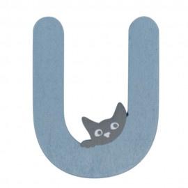 Houten kattenletter blauw U