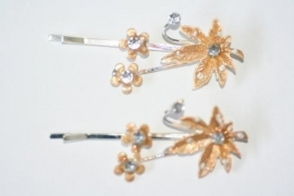 Haarschuifjes kastanjeblad brons (1)