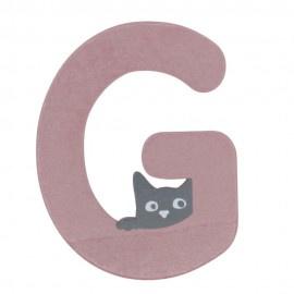 Houten kattenletter roze G