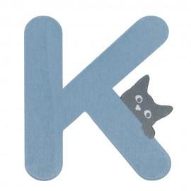 Houten kattenletter blauw K