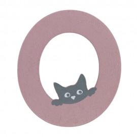 Houten kattenletter roze O