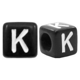 Acryl letterkraal zwart K  (vierkant)