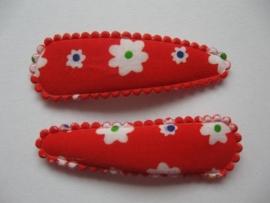 Haarspeldjes rood met witte bloemetjes