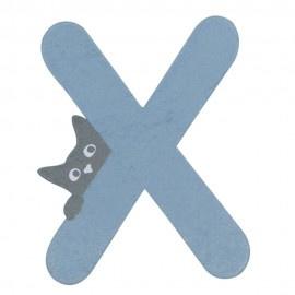 Houten kattenletter blauw X