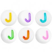 Acryl letterkraal multicolor-wit J (rond)