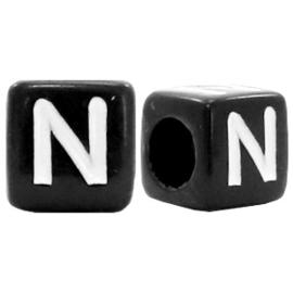 Acryl letterkraal zwart N  (vierkant)