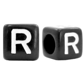 Acryl letterkraal zwart R  (vierkant)