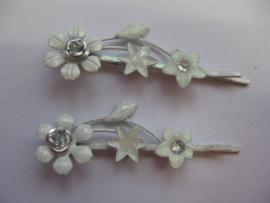 Haarschuifjes bloemen wit (6)