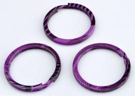 Metalen sleutelhanger ring paars