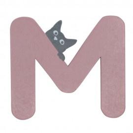 Houten kattenletter roze M