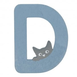 Houten kattenletter blauw D