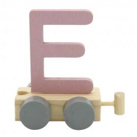 Houten treinletter E roze