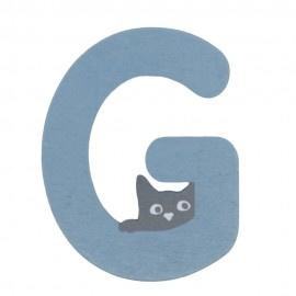 Houten kattenletter blauw G