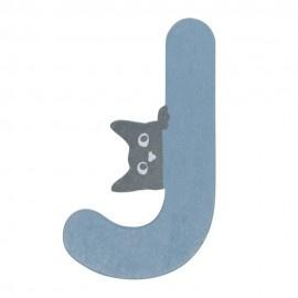 Houten kattenletter blauw J