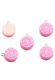 Kunststof hanger/bedel koekje roze