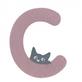 Houten kattenletter roze C