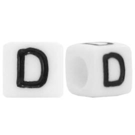 Acryl letterkraal wit D (vierkant)