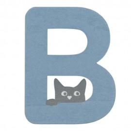 Houten kattenletter blauw B
