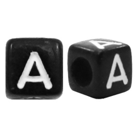 Acryl letterkraal zwart A (vierkant)