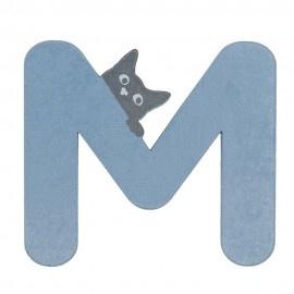 Houten kattenletter blauw M