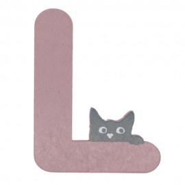 Houten kattenletter roze L