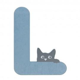 Houten kattenletter blauw L