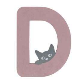 Houten kattenletter roze D
