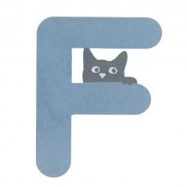 Houten kattenletter blauw F