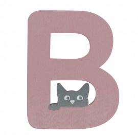 Houten kattenletter roze B
