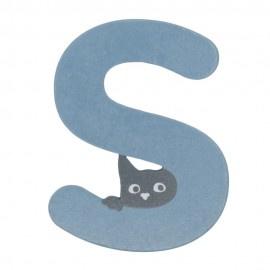 Houten kattenletter blauw S