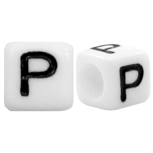 Acryl letterkraal wit P (vierkant)