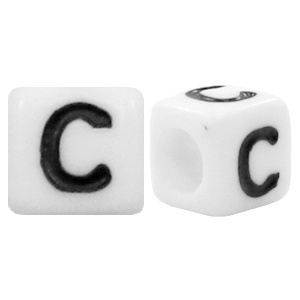 Acryl letterkraal wit C (vierkant)