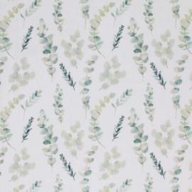 Tricot eucalyptus off-white/groentinten