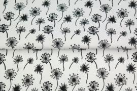 Katoen blaasbloem wit/zwart