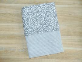 (V) Dekbedovertrek wafelkatoen/poplin panter grijs 75 x 100 cm