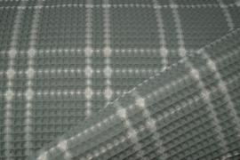 Tafelkleed rond 220 cm wafelkatoen ruit oudgroen